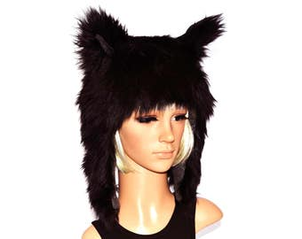 Black Wolf Hat Faux Fur Animal Hat