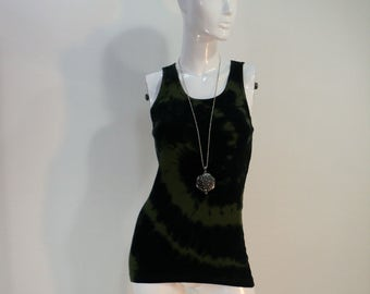 Black and moss green swirl tie dye cotton tank top.
