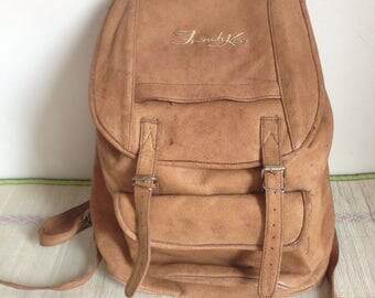 """Leather backpack, small rucksack, 1990s Movie """"French Kiss"""""""