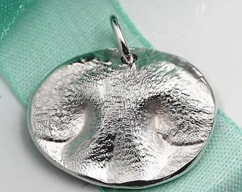 Extra LARGE Dog Nose Charm Custom made keepsake of pure .999 Fine Silver for Charm Bracelet, Pendant, Necklace