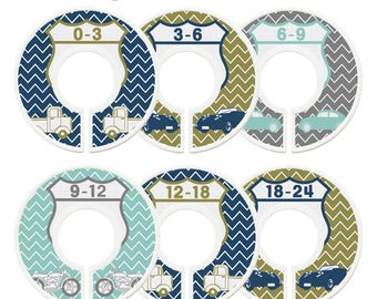 Closet Dividers, Assembled, Baby Closet Dividers, Closet Organizers, Baby Boy, Navy, Mint, Gray, Grey, Chevron, Vintage Cars Nursery Decor
