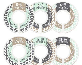 Closet Dividers, Baby Closet Dividers, Toddler, Days of Week, Closet Organizer, Arrows, Tribal, Woodland, Baby Shower Gift, Tan, Brown, Mint