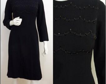 Chic VINTAGE 1960s Black Wool Crepe Beaded Evening Cocktail Dress UK 12 EU 40 ~ Mod~ Elegant