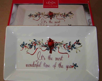 Christmas in July Sale 10% Off -Lenox WINTER GREETINGS PLATTER- Catherine Mc Clung - Porcelain w/24 Kt Gold Trim - Was 25.00