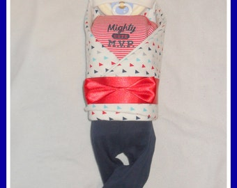 Amazing! Baby Boy Mighty Cute MVP Themed Diaper Cake Baby-Stunning Centerpiece