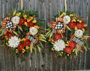 RESERVED matching double front door wreaths spring summer silk floral decoration red poppies off white jute flowers yellow roses grapevine