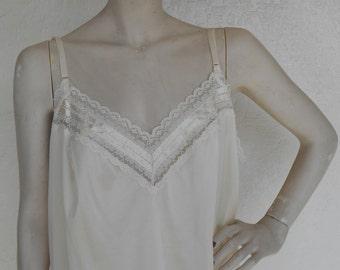 Vintage Camisole Ivory Size 44 Silky Nylon