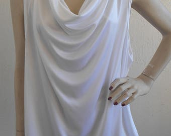 Vintage Camisole White Cowl Neck Cami by First Lady size XL Tank Top Blouse
