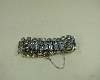 Vintage BLUE RHINESTONE BRACELET Sparkle & Bling Holiday Jewelry Gift