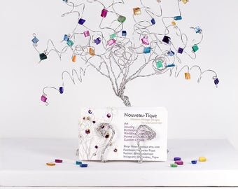 Stained Glass Mosaic Business Card Holder Tree Sculpture