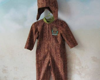 I Am Groot, Woodland Tree Costume: 3 Piece Set - Jumpsuit, Hood, Leaf/Tree Hood - All Cotton Fabric, Size 2 & 3, Ready To Ship Now