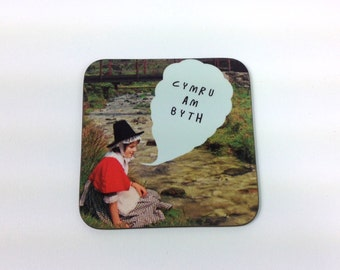 NEW - Cymru am Byth Welsh Text Wales Forever Vintage Girl Melamine Coaster