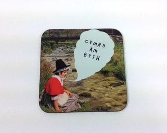 NEW - Cymru am Byth Welsh Text Wales Forever Vintage Girl Melamine Coaster