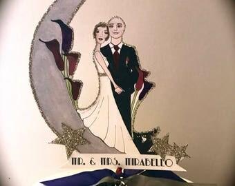 Wedding Cake Topper - Custom Portrait -Art Deco - Vintage Wedding - Hand Painted - Personalized