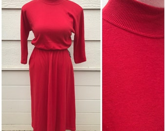 Fire red high neck 80s long sleeve winter jersey dress size large