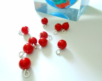 Red Opaque Glass Dangle Beads