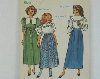 Children's Corner Pattern, Skirts and Blouses Heirloom Pattern, Tea Length Skirt and Puff Sleeve Blouse, Size 10 and 12,  Pattern Destash