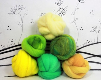 Wooly Buns roving, fiber sampler, assortment, needle felting supplies in Lemon Lime, green, yellow, 1.5 oz hand dyed roving, ombre tones