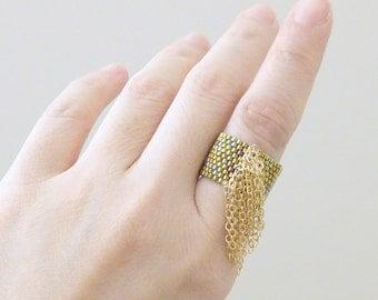 Gold Tassel Ring, Beaded Gold Ring, Chain Tassel Ring, Bohemian Luxe, Metallic Gold Ring
