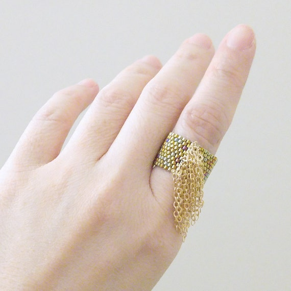 Gold Tassel Ring Beaded Gold Ring Chain Tassel Ring