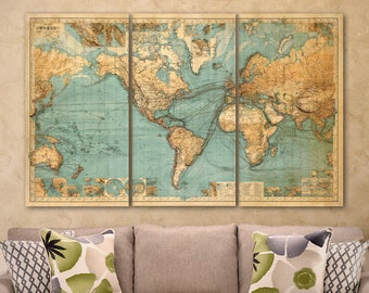 World map print - Chart of the world ,  world map fine reproduction - Large world map - Available in 1 piece or 3 sections