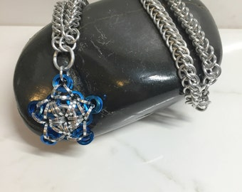 Blue Star Pendant Necklace, Chainmaille Jewelry, Star Pendant Necklace, Aluminum Chain, Half Persian Chain, Nickel Free Jewlery
