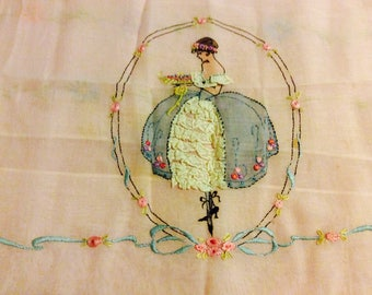 Pink Victorian Young Lady Butterflies Hand Embroidered Bedspread, Pillow Cover 1940's-50's