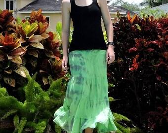 Tiered Maxi Skirt: Lime Green Tie Dye Peasant Skirt, Bohemian Festival Skirt, Hippie Skirt, Indian Cotton Skirt, Full Flowy Boho Skirt