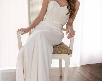 Aura Wedding Dress // Chiffon Wedding Dress / Chiffon Chevron Sweet Heart Bodice / Chiffon and Satin Skirt