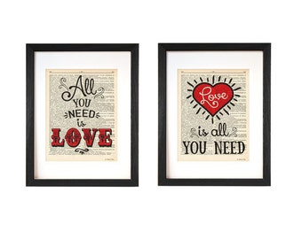 All you need is love print-love is all you need print-set of two prints-anniversary print-love print-love dictionary print-NATURAPICTA-DP138