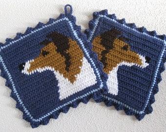 Collie Dog Pot Holders.  Denim blue, crochet potholders with Sheltie dogs. Collie gift.  Shetland sheepdog decor