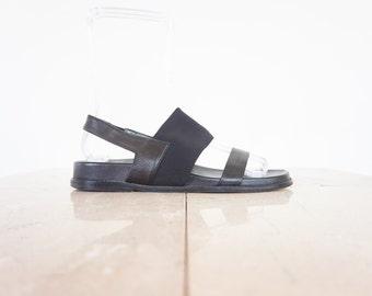 90s Minimal Black Leather Slingback Sandals / Women's Size 8 US - 38/39 Eur - 6 UK
