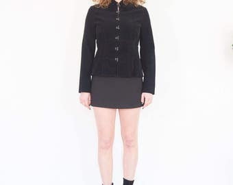 90s Minimal Black Corduroy Baby Doll Top / Peplum Jacket Size Medium