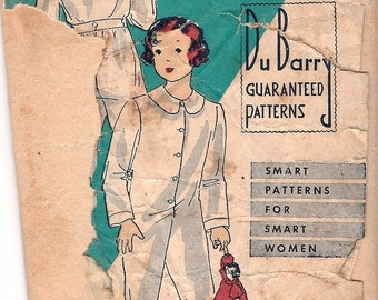 Darling Vintage 1930s DuBarry 1039B Child's One-Piece Footed Pajamas Sewing Pattern Sz 4