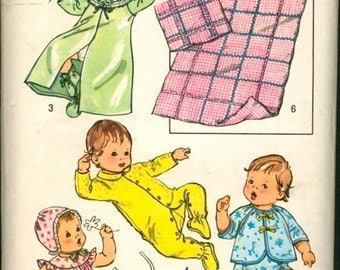 Sweet Vintage 1970s Simplicity 5434 Newborn Infant Baby Layette Sewing Pattern