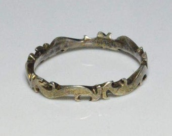 Vintage Sterling Silver Tribal Style Flames Band Size 7