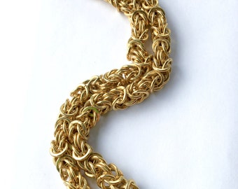 Erwin Pearl Gold Link Chain Chunky Necklace Designer Vintage Fashion Jewelry