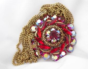 Ruby Rhinestone Pendant Necklace - Juicy Stunner with Double Chain - Retro 1950s Jewelry