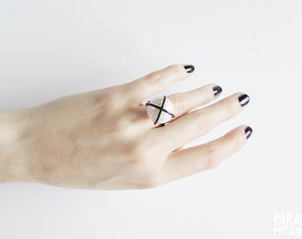 Big White Glass Pearl Blackened Oxidized 925 Sterling Silver Handcrafted Goldsmith Cage Ring + Witchy + Alchemy + Antique