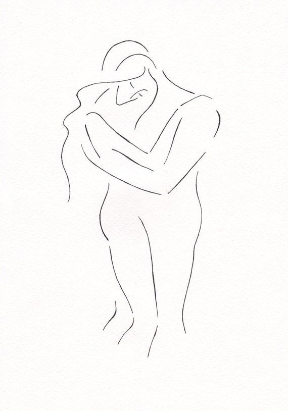 Line Art Couple : Minimalist couple line art black and white romantic