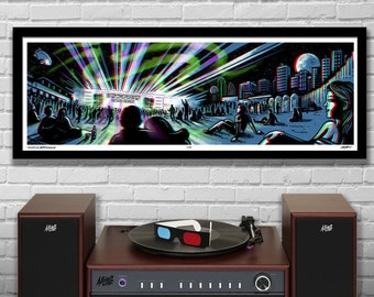 Aurora Boreal Lawn Seats -  3D Panoramic Concert Poster with Red/Blue Glasses - 11.75x36 - Signed Limited Edition Art Print - Ready to Frame