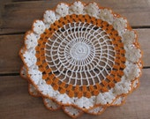 "Orange and Cream Crochet Doily with Ruffled Edge, 10"" Vanity Scarf, Cottage Chic"
