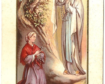Our Lady of Lourdes & Saint Bernadette with Rosaries in Grotto Antique French Holy Prayer Card, Catholic Gift, Healing Saint