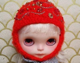 Bright Red Emroidered Mohair Helmet for Blythe