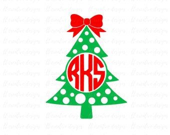 Christmas Tree Monogram, Christmas Tree SVG, Christmas SVG, Silhouette Cut Files, Cricut Cut Files