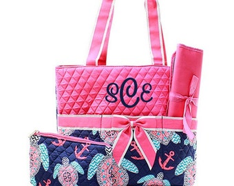 Monogram Diaper Bags Personalized Diaper Bag With Pink Quilted Top And Sea Turtle Design Monogrammed Diaper Bag 3 Piece Set