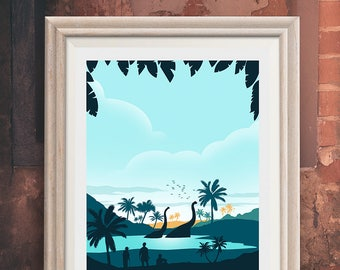 Jurassic Park - Life finds a way - Lake scene - Alternative Poster - Minimalist Movie Poster  (Available in many sizes)