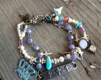 Cross Bracelet Crown Bracelet Purple Bracelet Turquoise Bracelet Pearl Bracelet Triple Strand Gemstone Bracelet Crystals Boho Religious