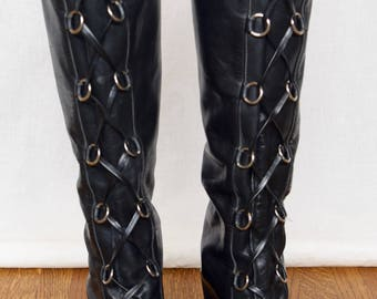 Vintage 1960's Women's NINA Black Leather Laced Go Go HiPPiE MOD BoHo Boots Shoes Size  7 7.5  7 1/2 N