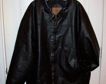 Vintage Men's Black Leather Jacket by Arizona Jean Company Large Only 20 USD